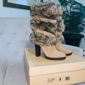 Michael Kors Carlie Fur and Suede Boots